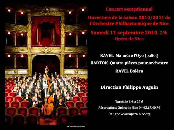 Opéra de Nice : Samedi 11 Septembre 2010 Concert d'Ouverture de la saison 2010/2011 de l'Orchestre Philharmonique de Nice…
