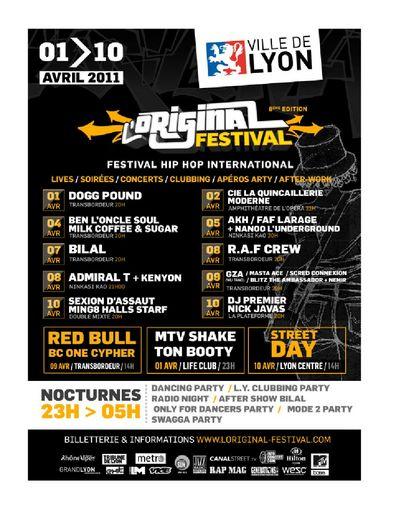 Festival «L'original» à LYON du 1er au 10 Avril 2011…