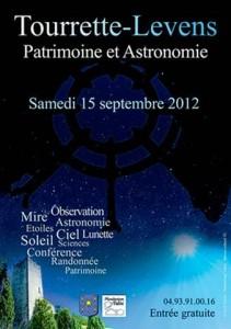 Tourrette-Levens : «Journée Patrimoine et Astronomie» Samedi 15 Septembre 2012…