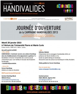 «Starting Block» lance la «Campagne Handivalides 2013 !» du 29 Janvier au 15 Mai 2013…