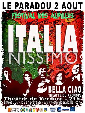 Paradou : Festival des Alpilles 2013 «ITALIANISSIMO» en compagnie du groupe «BELLA CIAO» et «Joëlle RICHETTA»…