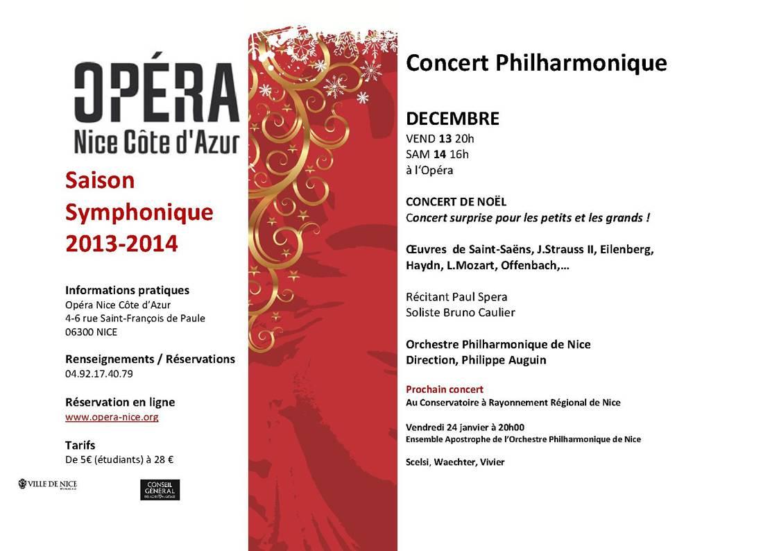 Opéra de Nice : «Concert Philharmonique Décembre 2013…  »
