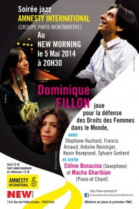 Paris Jazz : Les artistes et le «New Morning» s'associent bénévolement à «AMNESTY INTERNATIONAL» pour une soirée consacrée à la défense des Droits des Femmes.