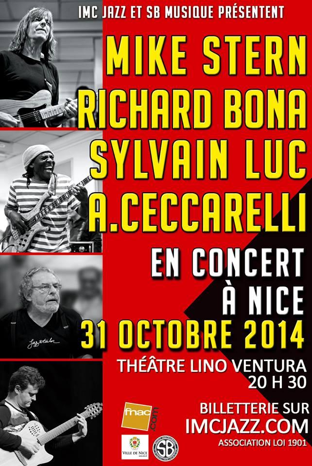 Nice : Richard BONA, Mike STERN, André CECCARELLI, Sylvain LUC se produisent en concert et animent une master class…