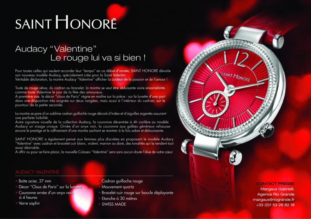 Fribourg (Suisse) / Paris : «Saint Honoré» dévoile son nouveau modèle de montre Audacy «Valentine» à l'occasion de la Saint Valentin…