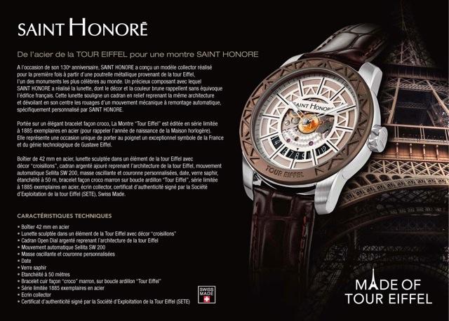 Paris / Fribourg : L'horloger Saint Honoré annonce la sortie de «la montre Tour Eiffel» à l'occasion de son 130 ème anniversaire…