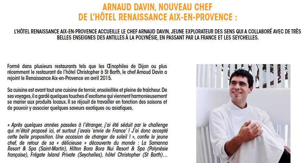 Aix-en-Provence : Arnaud Davin Nouveau Chef de l'Hôtel Renaissance…
