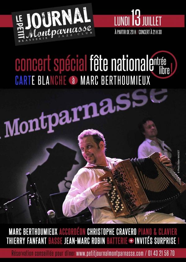 Jazz Paris : Concert Spécial Fête Nationale Carte Blanche à Marc Berthoumieux…