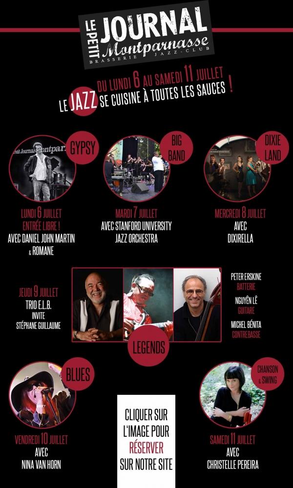 Paris : Le Jazz se cuisine à toutes les sauces du lundi 6 au samedi 11 Juillet 2015 : du Gypsy au Big Band en passant par le Dixieland !…