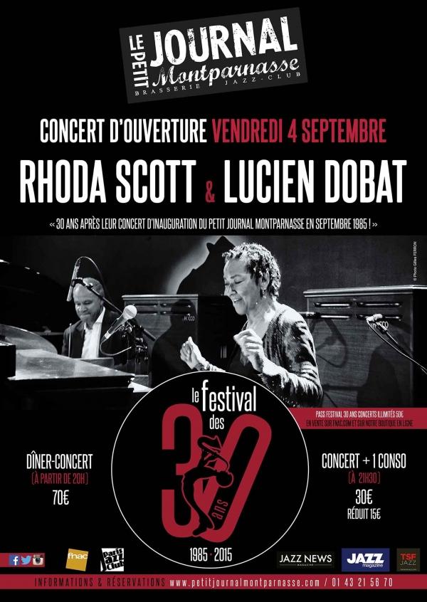 Paris Jazz : Rhoda SCOTT & Lucien DOBAT Concert d'ouverture du Festival des 30 ans du Petit Journal Montparnasse…