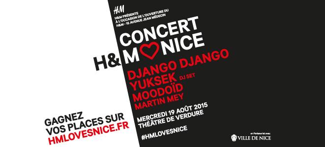 A l'occasion de l'ouverture de son nouveau magasin à Nice, la célèbre marque de prêt-à-porter H&M organise un concert gratuit …