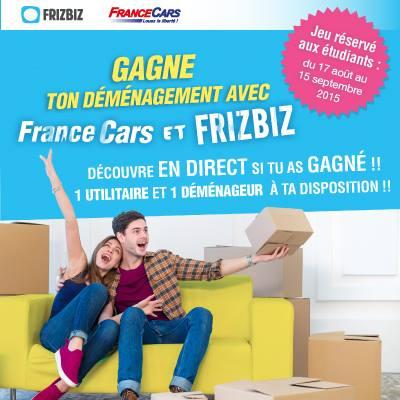 France Cars, loueur de véhicules et Frizbiz, site de services de proximité entre particuliers, viennent à l'aide des étudiants pour leur déménagement !
