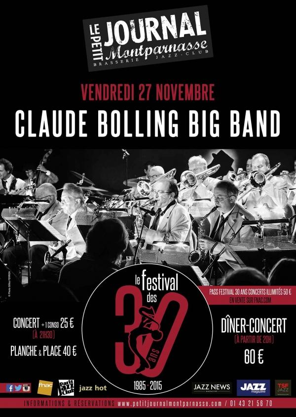 Paris Jazz : Dans le cadre du festival de ses 30 ans, le Petit Journal Montparnasse accueille Claude BOLLING BIG BAND…