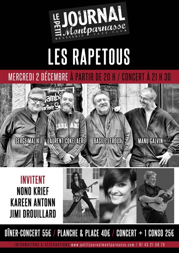 Paris Jazz : Les Rapetous invitent Nono KRIEF, Kareen ANTONN et Jimi DROUILLARD au Petit Journal Montparnasse…