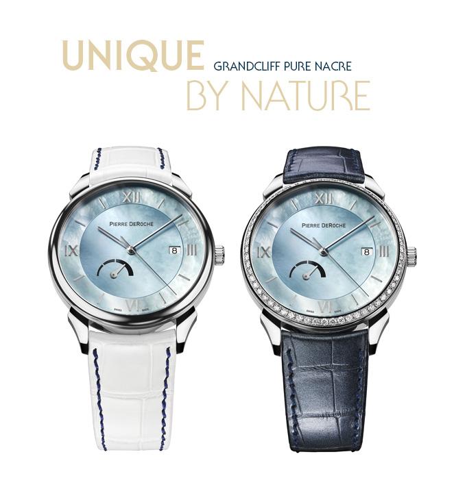 Suisse : L'Horloger Pierre DeRoche propose la nouvelle montre GrandCliff Pure Nacre Unique par Nature…
