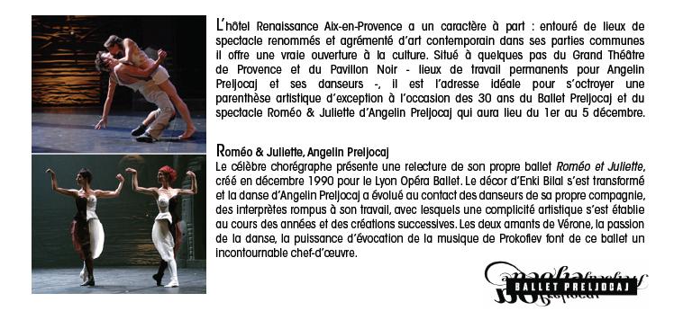 Du 1er au 5 décembre 2015 : escapade artistique au Renaissance Aix-en-Provence pour les 30 ans du Ballet Preljocaj…