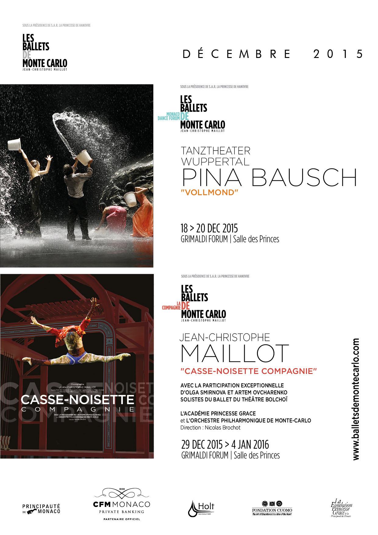 La Compagnie des Ballets de Monte-Carlo célèbre ses 30 ans, programmation des mois de Décembre 2015 et Janvier 2016 …