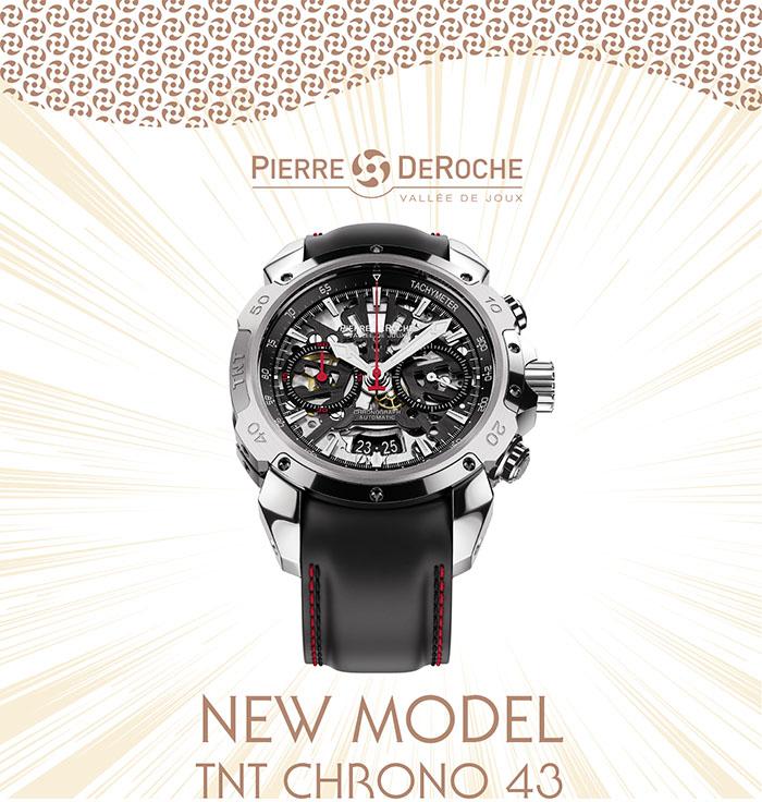 Pierre DeRoche annonce le nouveau modèle de montre chronographe TNT Chrono 43…