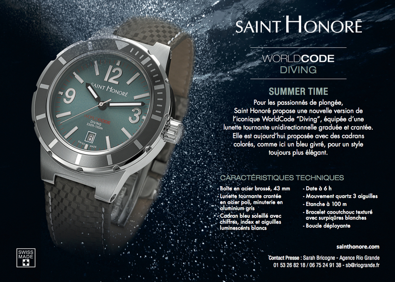 « SAINT-HONORE » propose sa célèbre montre Worldcode « Diving » dans des versions plus colorées…