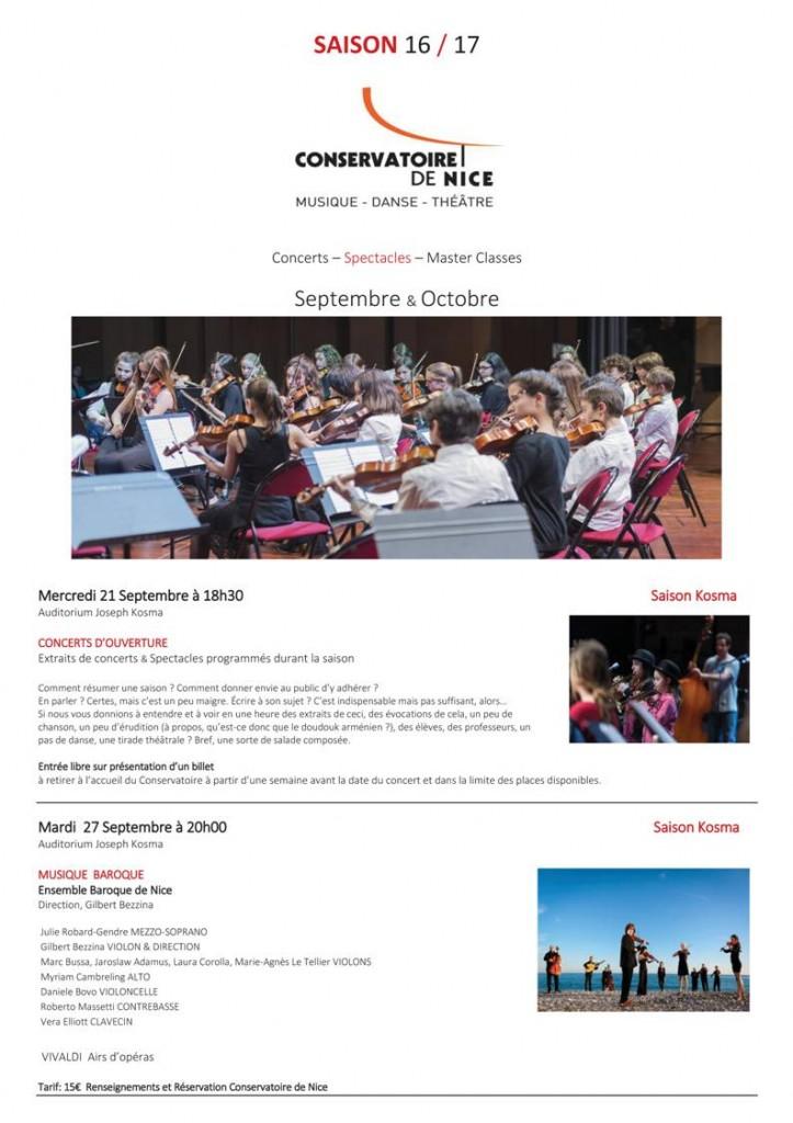 Nice : Programme des Concerts & Spectacles des mois de Septembre et Octobre 2016 au Conservatoire National à Rayonnement Régional (CNRR)…