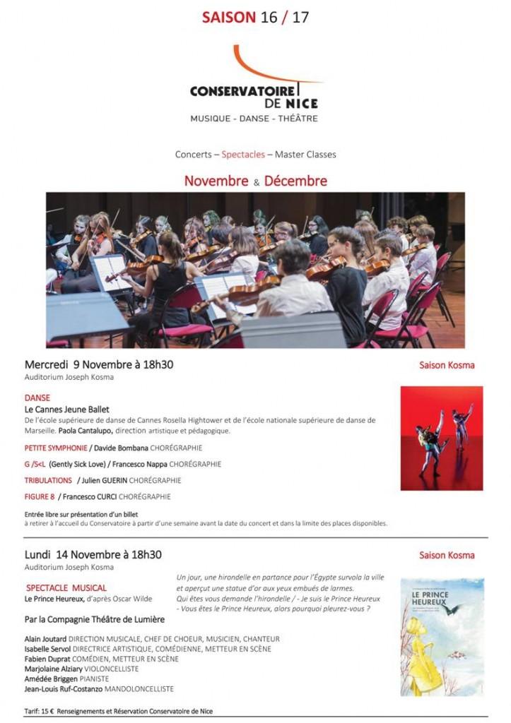 Nice : Programme des Concerts & Spectacles des mois de Novembre et Décembre 2016 au Conservatoire National à Rayonnement Régional (CNRR)…