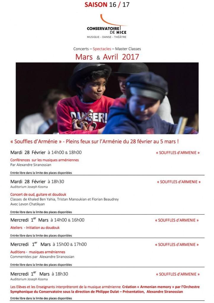 Nice : Programme des Concerts & Spectacles des mois de Mars et Avril 2017 au Conservatoire National à Rayonnement Régional (CNRR)…