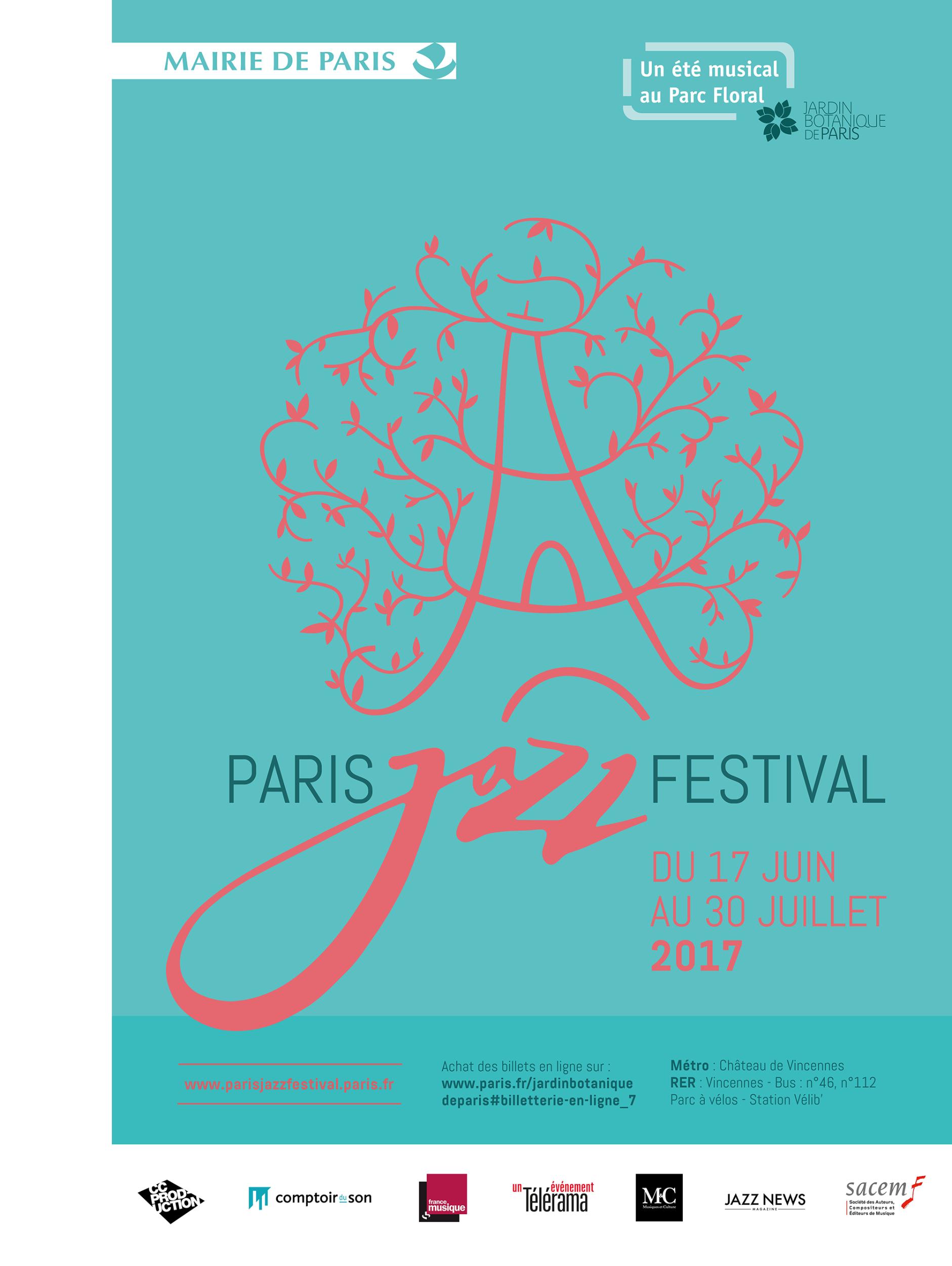 Paris Jazz Festival 2017…  Rendez-vous cet été au Parc Floral pour un voyage musical aux couleurs du Jazz !…