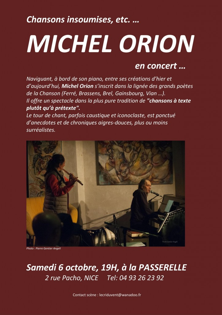 MICHEL ORION : CONCERT EXCEPTIONNEL A NICE