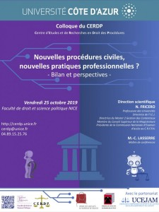 Nice : Colloque de Procédure civile du CERDP 2019…